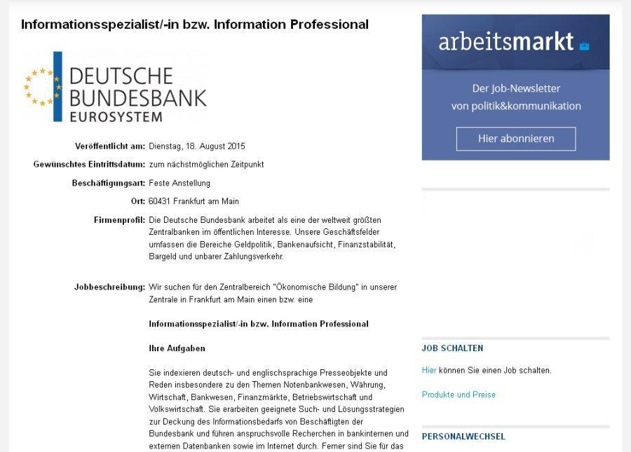 stellenausschreibung-info-professional-deutsche-bundesbank-08-2015