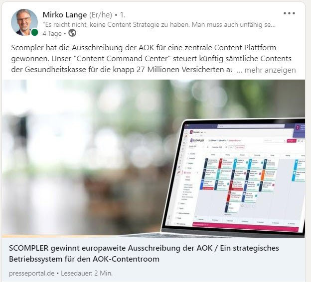 Mirko Lange meldet den Gewinn der AOK Ausschreibung auf LinkedIn