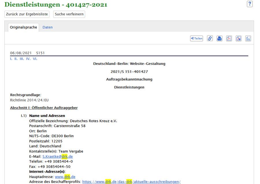 Eintrag DRK Ausschreibung TED Datenbank